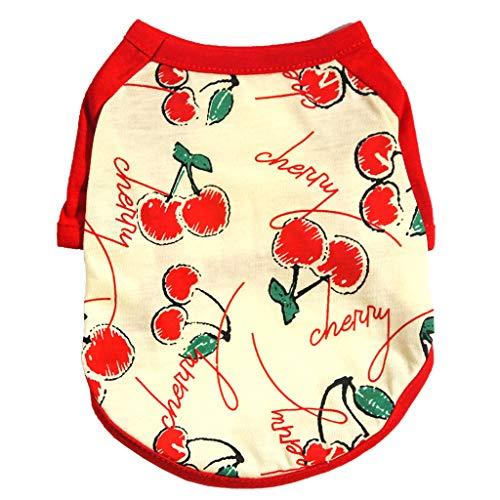 Art Verpackung Kostüm Aller - Coconute Haustierkleidung für Hunde Schlafanzug Katze Jumpsuits Fruchtdruck Shirts Haustier Niedliche T-Shirt Kleidung Weste Mantel Kostüm(Red,L)