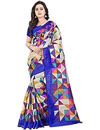 VRA Trendz Women's Bhagalpuri Cotton Multicoloured Saree With Blouse (Blue And Pink Checks)