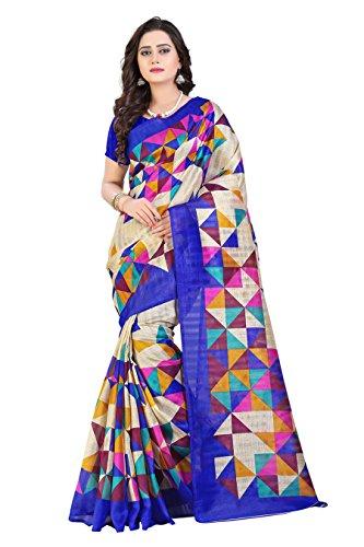 Floral Trendz Women's Bhagalpuri Silk Printed Saree With Blouse Piece.(Bhagalpuri 752_Blue_Free Size)