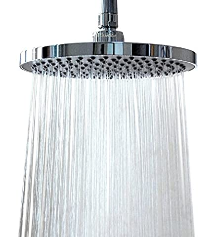 WantBa 8 Inches (157 Jets) Rainfall Shower Head with Showerhead Swivel Metal Ball Connector Polished Chrome by WantBa
