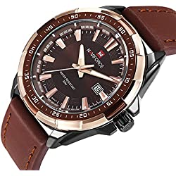 Mens Watches Leather Band Watch Week and Date Wrist Watches for Men (Black W386)