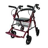 Deambulatore anziani 4 ruote e sedia a rotelle | 4 in 1 | Pieghevole e regolabile | Freni, seduta | Mod. Colón | Mobiclinic