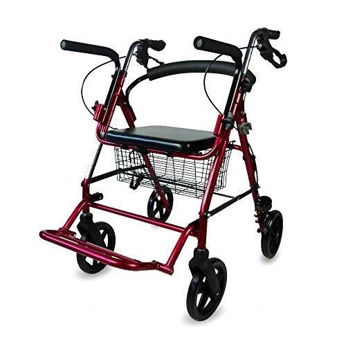 Andador para ancianos | Aluminio | Plegable | Frenos en manetas | Asiento y respaldo | 4 ruedas | Burdeos | Colón | Mobiclinic
