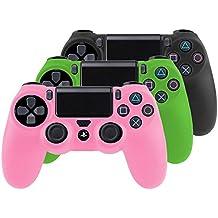 Bundle - 3x Funda Cubierta de silicona para PlayStation 4 / PS4 Dualshock 4 Controller Controlador Mandos, negro + rosa + verde