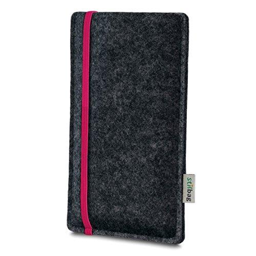 Stilbag Filztasche 'LEON' für Apple iPhone 5S - Farbe: pink-anthrazit pink
