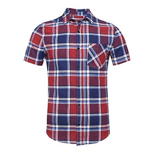 Nutexrol camicie uomo camicie a quadri, casual, comodo e moderno per l'estate, manica corta, rosso e blu (camicia di flanella), xxxl