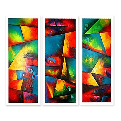 JH Lacrocon Pinturas Abstractas a Mano 3 Piezas - Total 90X85 cm Sobre Lienzo Enrollado Decoración Pared para Salón - Colorido Simbolismo Patrón Geométrico
