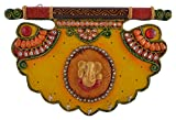 Paheli Craft Antique Rajasthani Pink City Jaipur Unique Wooden Paper Mache Traditional Handmade Handi Spiritual Lord Ganesha Paper Mache Pankhi Key holder Decorative Gift Item Home / Table / Wall Decor Hanging Showpiece / Figurine (31 cm x 21 cm x 4.5 cm)