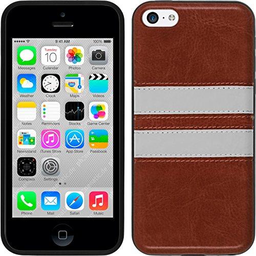 PhoneNatic Case für Apple iPhone 6s / 6 Hülle Silikon türkis Stripes Cover iPhone 6s / 6 Tasche + 2 Schutzfolien Braun