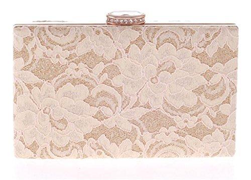 ERGEOB Damen Abendtasche Spitzebeutel der koreanischen Art und Weise Damen Tasche Diamant-Technologie weiss aprikose
