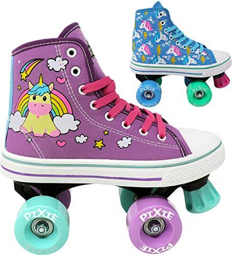 Lenexa Roller Skates für Mädchen - Pixie Unicorn Kinder Quad Roller Skate - Indoor, Outdoor, Derby Kinder Skate - Rollerskates Made for Kids - High Top Sneaker Stil - ideal für Anfänger J12 Lila