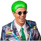 Amakando Perücke Yuppie - grün - Herrenperücke Lackaffe Kurzhaarperücke Wichtigtuer Männerperücke Proll Stylo Karnevalsperücke Neonperücke Männer