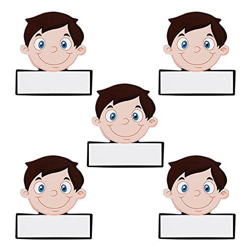 5 Namen Magnete Avatar Männer Wiederbeschreibbar 5,5 x 5 cm für Magnettafeln, Kühlschränke, Plantafeln und Whiteboards. Emoji Magnet Men Name Magnet (Kühlschrank-magnete Emoji)