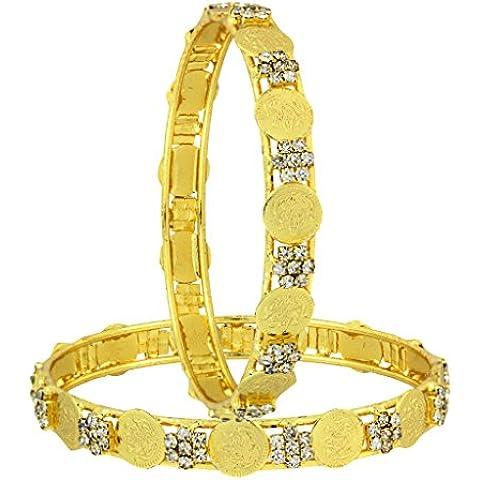 La Jewelbox Lakshmi Moneda Ginni American Diamond chapado en oro brazalete conjunto de 2(Par) para las mujeres