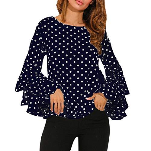 Damen Shirts Tees Tops Oberteile Oversize Pullover Sweatshirts Pulli Hoodie Elegant Hemden Langarm Blusen Tuniken, Mode Bell Hülse Lose Polka Dot(M,Blau