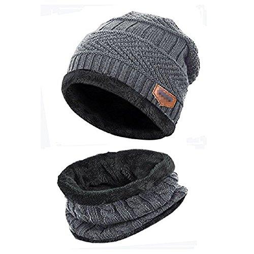 Wintermütze Herren, Warm Strickmütze und Schal mit Fleecefutter, Grau, Einheitsgröße