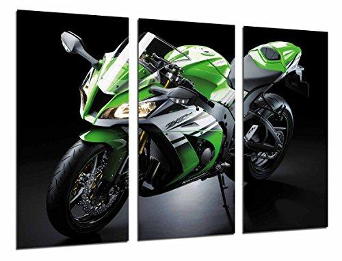 Quadro Su Legno, Moto Kawasaki ZX-10R, Verde, Strada, 97 x 62cm, Stampa in qualita fotografica. Ref. 26669