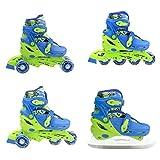 Inline Skate Inlineskating Schlittschuhe Rollschuhe verstellbar Kinder 4in1 NH18330 (blau, S)