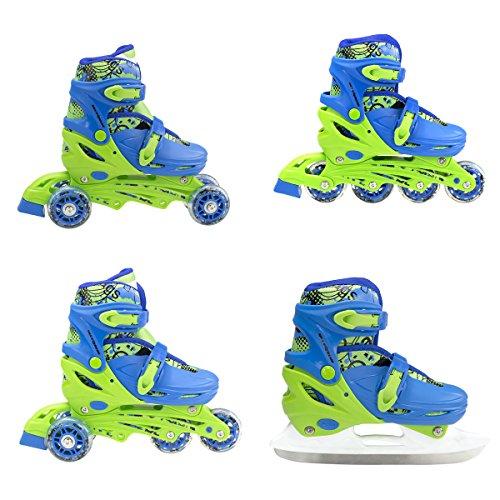 Inline Skate Inlineskating Schlittschuhe Rollschuhe verstellbar Kinder 4in1 NH18330 (blau, M)