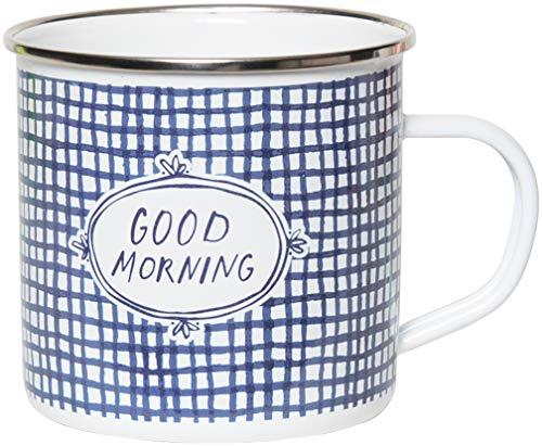 C.R. Gibson QME-18845 Kaffeetasse mit Aufschrift'Good Morning', Emaille, 3,8 l, Blau/Weiß kariert...