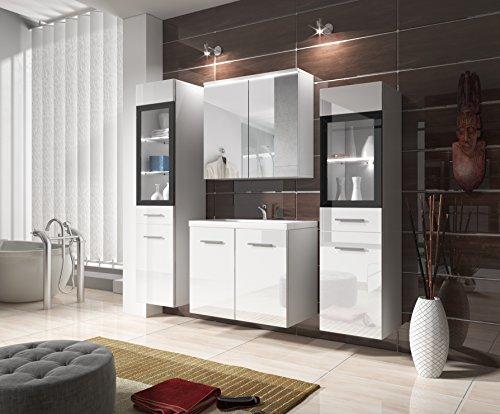 #Badmöbel Set Udine II mit Waschbecken und Siphon, Spiegelschrank, Waschtisch, Hochschrank, Möbel,ohne Beleuchtung, Weiß Hochglanz#