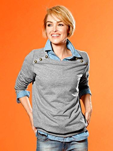 Damen Sweatshirt mit Dekoknöpfen by KLiNGEL Silbergrau Melange