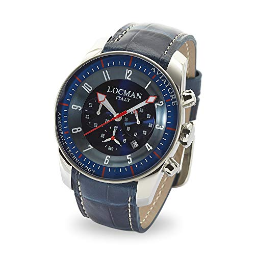 Locman Locman Italy Men's Watch Aviatore Chronograph Titanium Blue Ref 045000