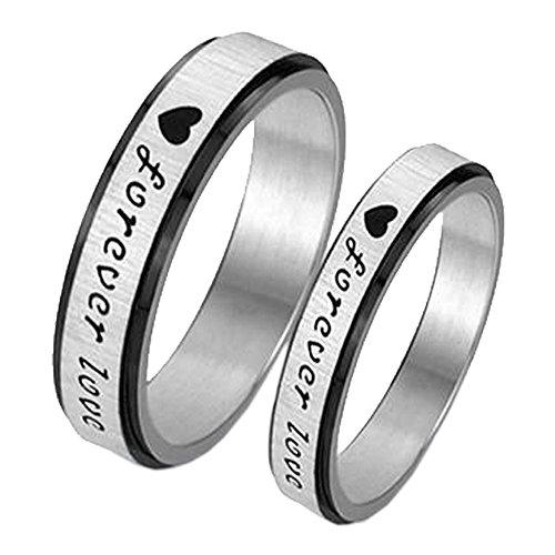 UM Schmuck Versprechen Ringe Paare Edelstahl Herren Damen Gravierte