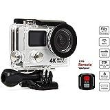 Beaspire Action Sport Kamera 4K Cam 1080p 60fps FHD 12M Dual-Display Helmkamera Wifi HDMI 30M Wasserdicht 170°7G+1R Weitwinkelobjektiv mit 2.4G Fernbedienung Weiß