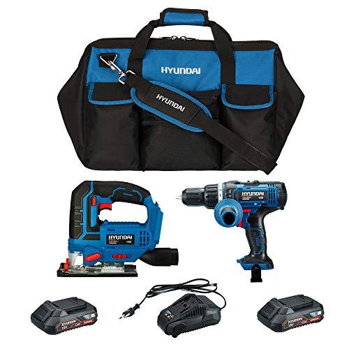 HYUNDAI Werkzeugset CHDCJS1801 SET2A (bestehend aus Akku-Schlagbohrschrauber CHD1801LI, Stichsäge CJS1801LI, 2 x 2.0Ah - 18V Akkus, Schnellladegerät und praktischer Werkzeugtasche)