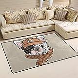 Wellay Hipster mit französischer Bulldogge, in Braun-rutschfeste Doormats Hauseingang, Dirt Trapper Teppich Fußmatten Eingangsbereich Schuhe Schaber mit Innen-/23,6x 15,7Zoll