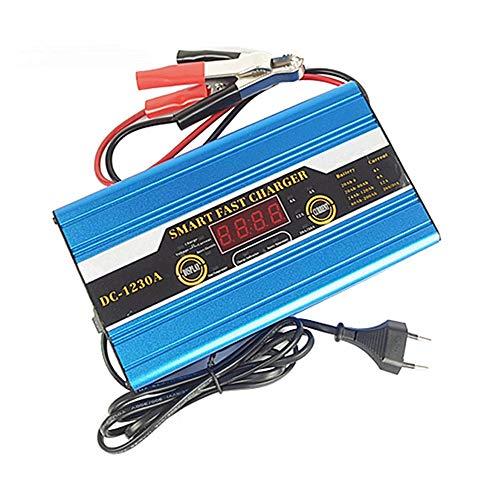 CONRAL Intelligentes schnelles Ladegerät 12V 10A für Auto, elektrisches Fahrrad, Motorrad, intelligente Anzeige LCD, 3-stufiger Lademodus, justierbarer Ladestrom, Batterie-Instandhaltungs-Maintainer