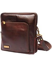 Poshaque Unisex Genuine Leather Sling Bag (Brown)