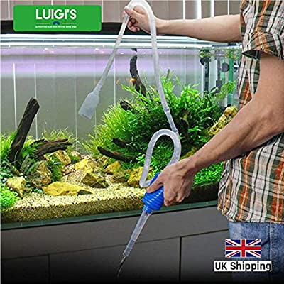 Luigi's Aquarium/Fish Tank Siphon and Gravel Cleaner - A Hand Syphon Pump to drain and replace your water in minutes! by Luigi's