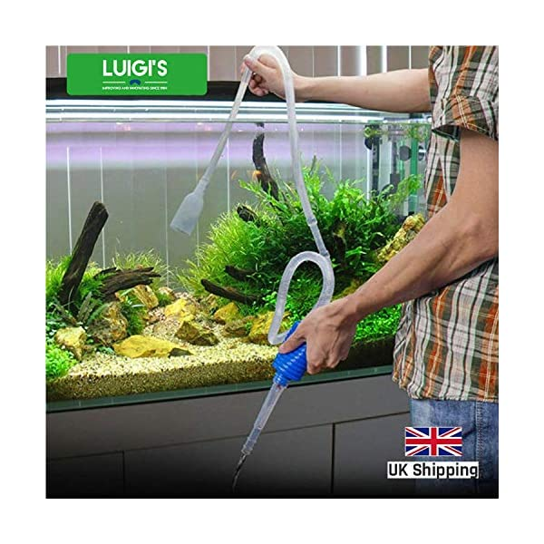 Luigi's Aquarium/Fish Tank Siphon and Gravel Cleaner – A Hand Syphon Pump to drain and replace your water in minutes!