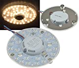 LED Nachrüst Umrüst Modul mit Magnethalter 12W - 24W Ø125 - Ø180mm 1080 - 2200 Lumen 230V anschlussfertig (Ø 125mm, 12W, warmweiss)