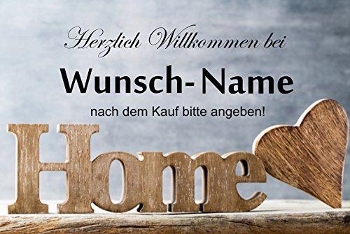 """ Herzlich willkommen (Wunschname) "" - Fussmatte bedruckt Türmatte Innenmatte Schmutzmatte lustige Motivfussmatte"