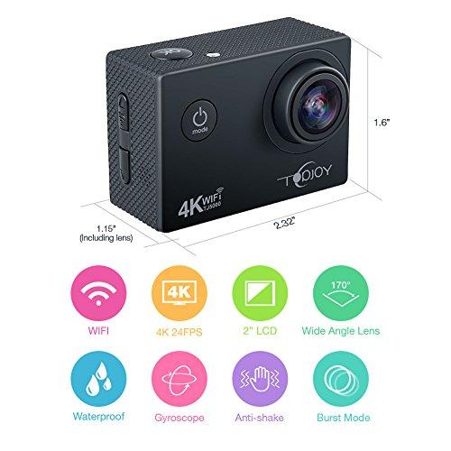 Topjoy Sport Action Kamera TJ5000 4K 16MP Unterwasser Action Kamera mit NTK96660 Chipsatz Sony IMX078 Sensor Gyro WiFi HDMI & AV Out Action Cam für Tauchen Fahrrad Skifahren - 5