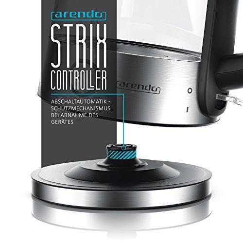 Arendo – Edelstahl-Glas-Wasserkocher inkl. LED-Innenbeleuchtung   Edelstahl-Glas-Optik   STRIX-Controller   integrierter Kalkfilter   1,7 Liter   2200 Watt   automatische Abschaltung   One-Touch-Verschluss - 3