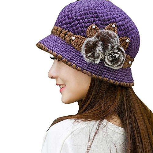 TEBAISE Damen Barette Wolle Glockenhut Filz Topfhut mit Blumendetail Unisex Hüte Hut Mützen Sturmhauben Strickmützen Baseball Caps