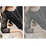 Evtech (tm) Frauen-Perlen Spitze Perspektive Long Sleeve Drape Schlank Rundhals Bekleidung Black - M