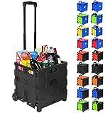 WOLTU EW4801sz Einkaufswagen Einkaufstrolley Klappbox Shopping Trolley Faltbox klappbar Transportwagen bis 35kg Schwarz