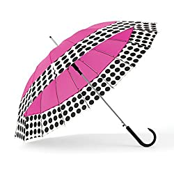 Shedrain Umbrellas 16 Panel Auto Stick, Pink Spot On, One Size
