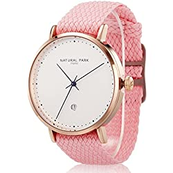 Men Dress Casual Watches with Date Rose Gold Tone Pink Nylon Strap