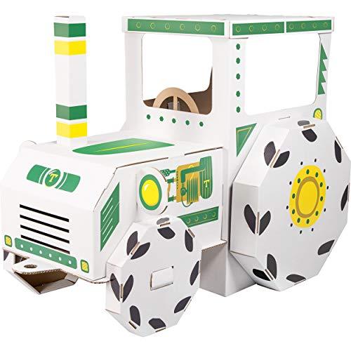 small foot 10016 Spielhaus Traktor aus Bastelkarton, durch Bemalen individuell und einzigartig zu gestalten