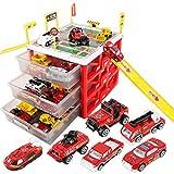 Likeluk Parkplatz Spielzeug Set, Parkgarage Spielzeug Kinderspielzeug, Auto Garage und Parkhaus mit 6 Spielzeugautos, für Kinder Jungen Mädchen (Rot)