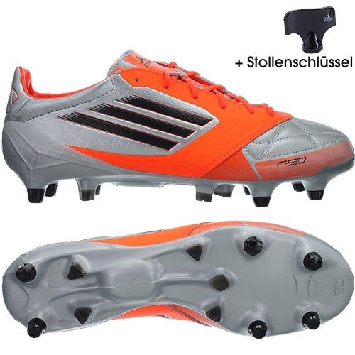 Adidas F50 adizero XTRX SG LEDER Fußballschuhe Herren Stollen Silber Orange Silber 40 40 (Fußballschuh F50 Herren)