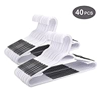 Dripex Heavy Duty Plastic Clothes Hanger 40 Pcs Coat Suit Trousers Hanger, Non-Slip Ultra Thin Space Saving Clothes Racks with Nonslip Rubber & Bar
