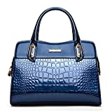 G-AVERIL Damen Lack Leder Handtasche/Damenhandtasche/Schultertasche/Crossbody Bag/Umhängetaschen/Henkeltasche Blau