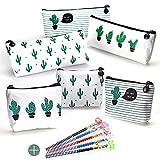 FAVENGO 6 Stück Kaktus Mäppchen Segeltuch Federmäppchen mit 5 Bleistifte, Mädchen Bleistift Tasche mit Reißverschluss Leinwand Kosmetiktasche Set für Schule und Büro